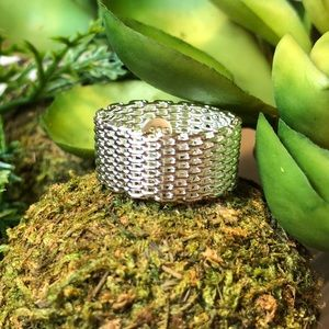 New! 925 stamped sterling mesh band/ring/jewelry